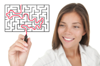 Woman Doing Maze