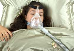Woman on Cpap Machine